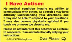 Autism ID Cards Available